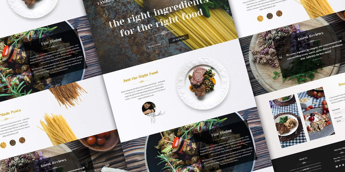 Free One Page Restaurant PSD Template Oxygenna Web Design - Brochure website templates