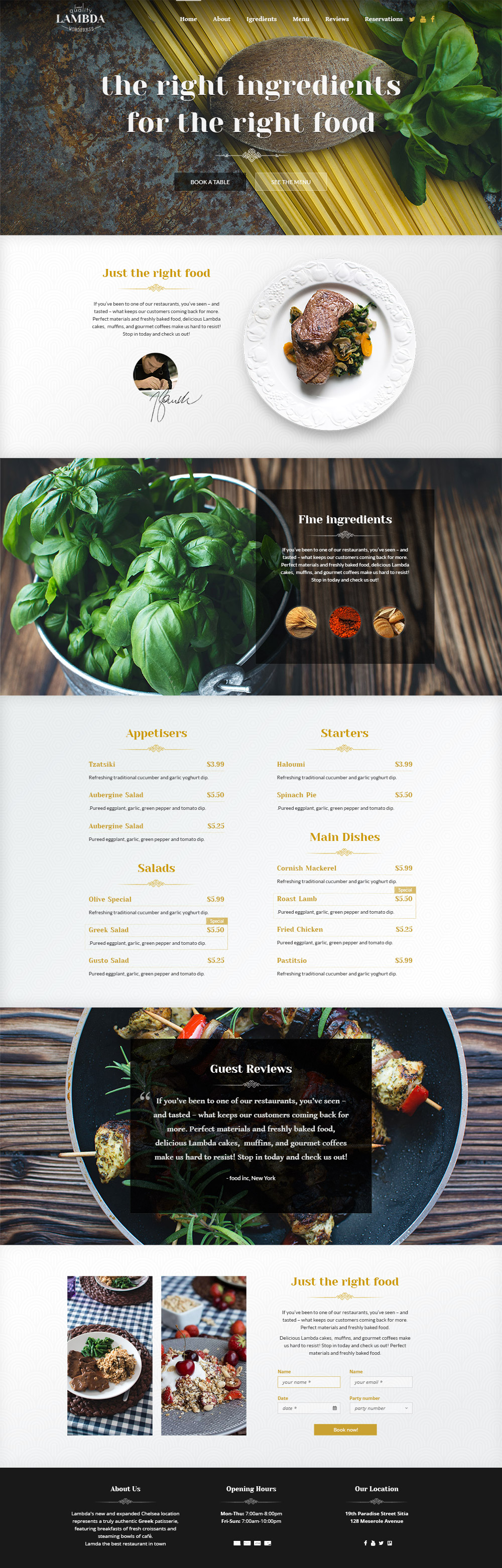 free one page restaurant psd template oxygenna web design
