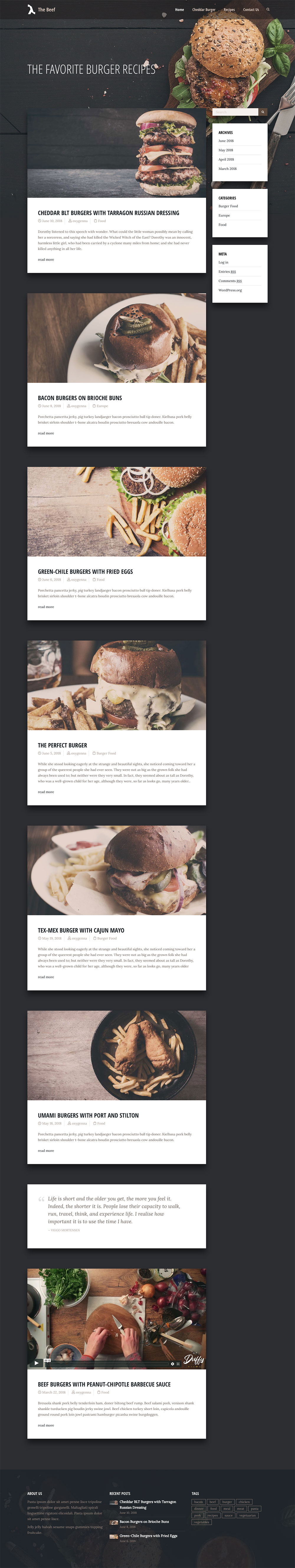 Wordpress Food Blog Demo